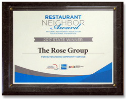 Pennsylvania Restaurant & Lodging Association recognizes The Rose Group for excellence in community service